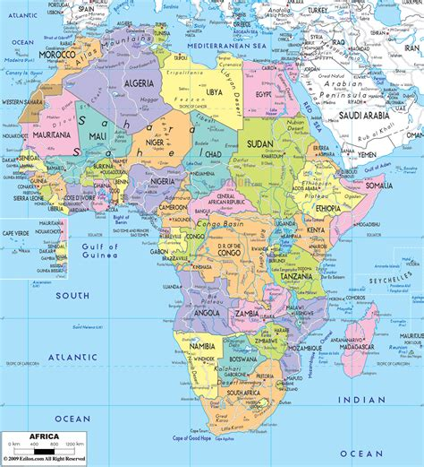 large detailed political map  africa   roads