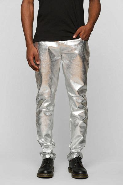 urban outfitters tripp nyc metallic skinny pant  silver