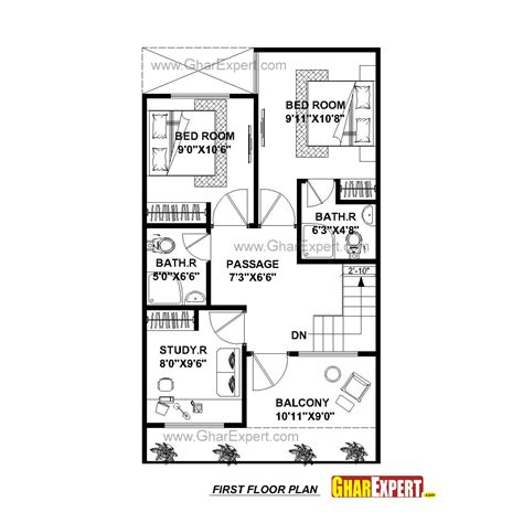 45 ft bathroom house plan for 20 by 45 plot plot size 100