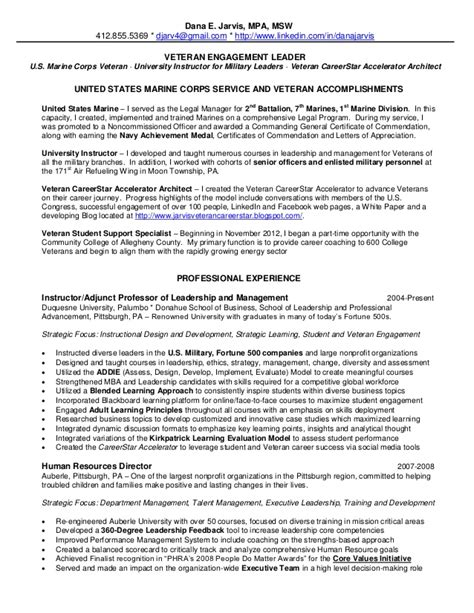 Veteran Resume by 2013 Jarvis Resume Veteran Engagement Leader
