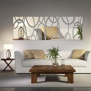 Acrylic mirror wall decor art 3d diy wall stickers living for Diy dining room wall art