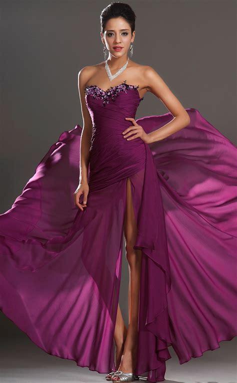 Trumpet/Mermaid Purple Crushed Chiffon Floor-length Prom ...