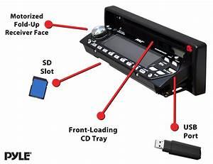 Amazon Com  Pyle Am  Fm Mp3 Player W  Usb  Sd Input  U0026 Motorized Slide Down Detachable Face