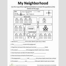 My Neighborhood Map  Worksheet Educationcom