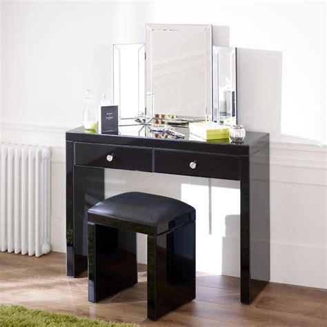 glass vanity table mirrored black glass dressing table set archives the