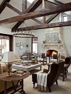 Austin, Rustic, Farmhouse, Decor, Living, Room, With, Tufted, Ottoman, Traditional, Chandeliers, Clerestory
