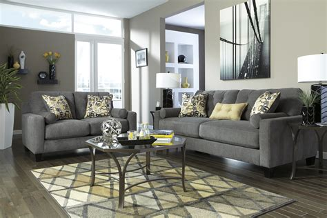 Living Room Design With Charcoal Sofa  Living Room