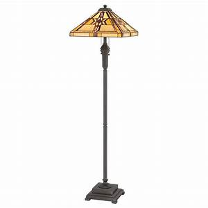 Tiffany floor lamp american mission style with warm for Tiffany style vase floor lamp