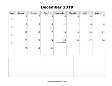 blank calendar december   notes landscape