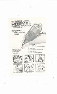 Dremel Electric Engraver Model 290  U0026 292 Operators Manual