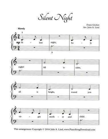Several different levels of silent night piano sheet music available. Silent Night - free easy Christmas piano sheet music with lyrics