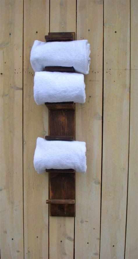handmade towel holder rack bath decor wood shabby