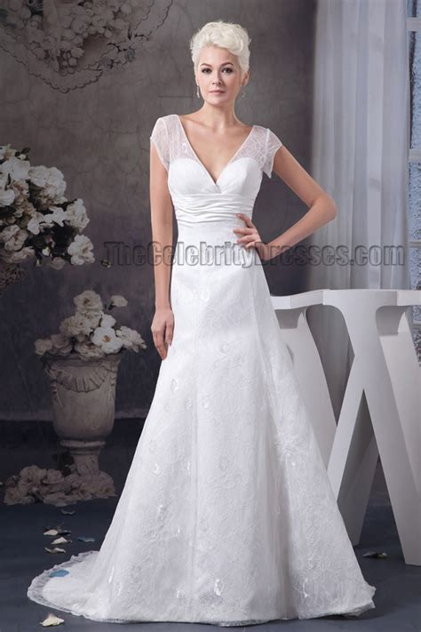 neck cap sleeve chapel train wedding dress