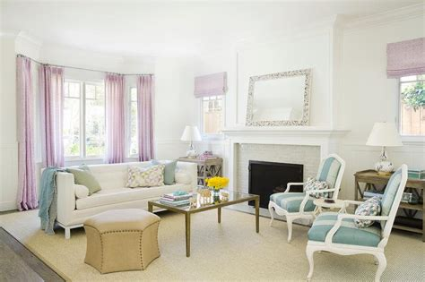 white coffe tables blue and lavender living room design transitional