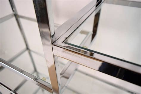 Vintage Polished Chrome And Glass Etagere For Sale At 1stdibs