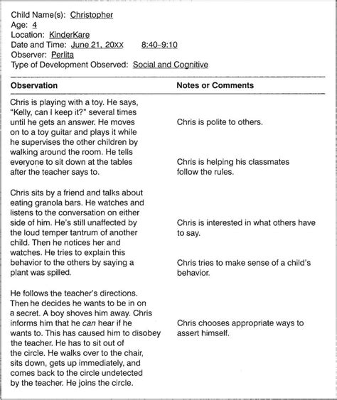 preschool observation examples observation plan 140