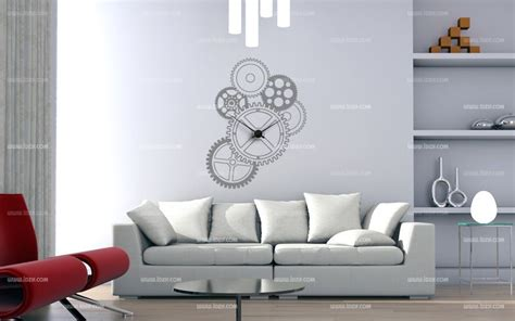 pendule design cuisine stickers engrenage horloge