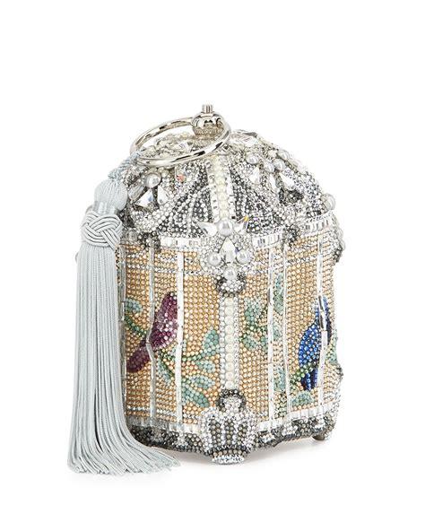 lyst judith leiber couture birdcage crystal clutch bag  metallic