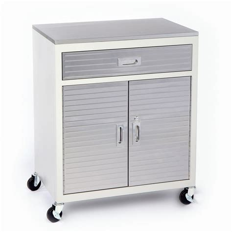 Square White Metal Garage Storage Cabinet On Wheels With