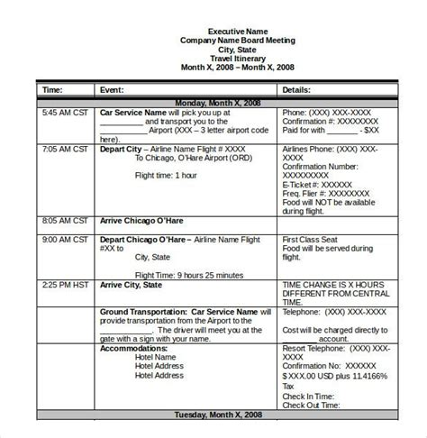 itinerary template   word excel  documents