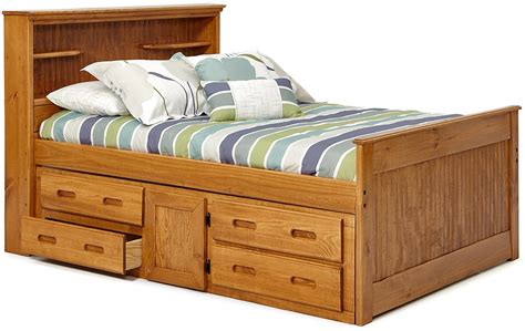 full size captains bed bookcase headboard with storage
