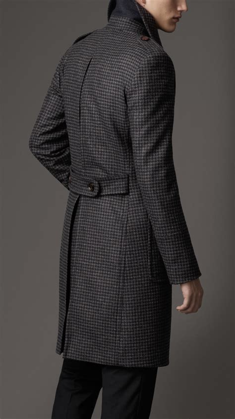 lyst burberry houndstooth greatcoat  blue  men
