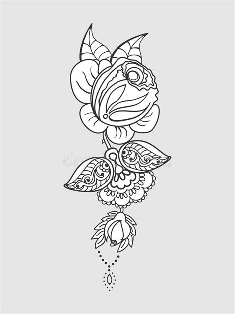 Isolated Rose. Outline Drawing. Stock Vector Illustration. Stock Vector - Illustration of