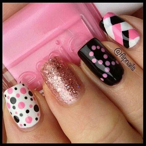 The polka dots and breast cancer nails are my favorite | Nail art | Pinterest | The cure Black ...