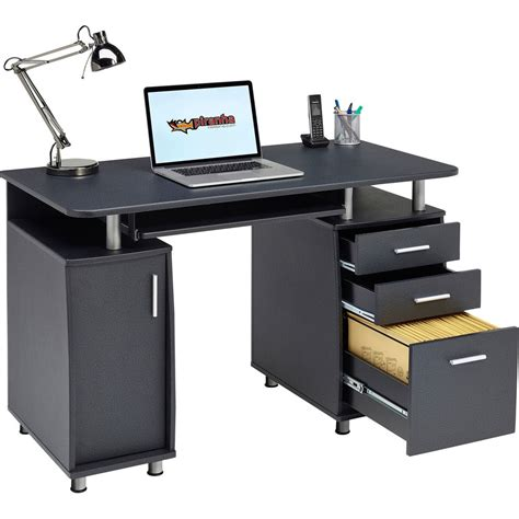 desk l with outlet and organizer computer desk with storage a4 filing drawer home