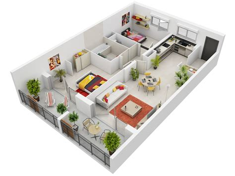 appartement 2 chambres 2 bedroom apartment house plans