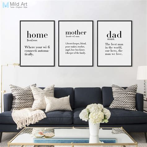 modern minimalist black white family dad mother quotes