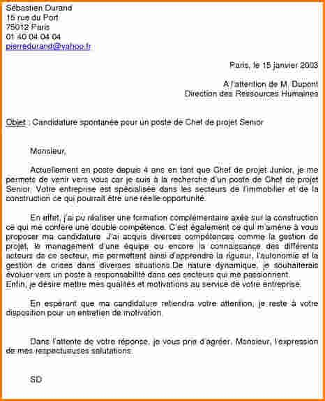 7 mod 232 le lettre de motivation candidature spontan 233 e exemple lettres