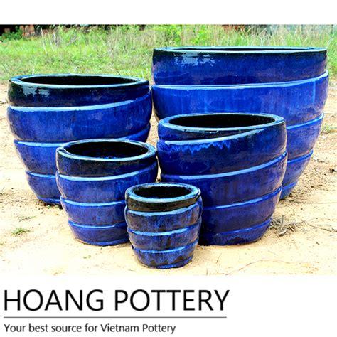 modern ceramic planter contemporary blue glazed ceramic pot hpth002 hoang pottery