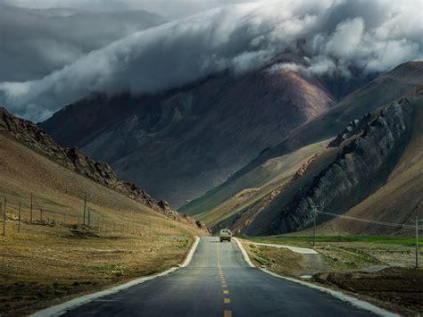 mountain clouds storm road car desktop pc  mac