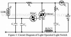 Light Operated Lamp Switch Using Diac And Triac