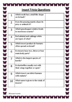insect trivia questions quiz  questions  answers