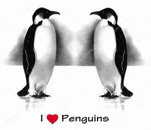 I Love (Heart) Penguins: Pencil Drawing — Stock Photo ...
