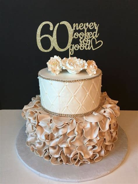 Perhaps what makes this a truly unique 60th birthday gift idea for her at the party is that this clock is great for seniors and retirees, even if she is still working, this can be a precursor to the actual day when she is. ANY NUMBER Gold Glitter 60th Birthday Cake Topper, 60 Never looked so good, 60th Birthday Cake ...