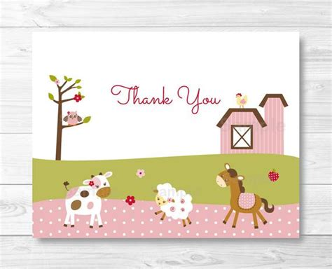 animal thank you card template pink farm animal thank you card farm animal baby