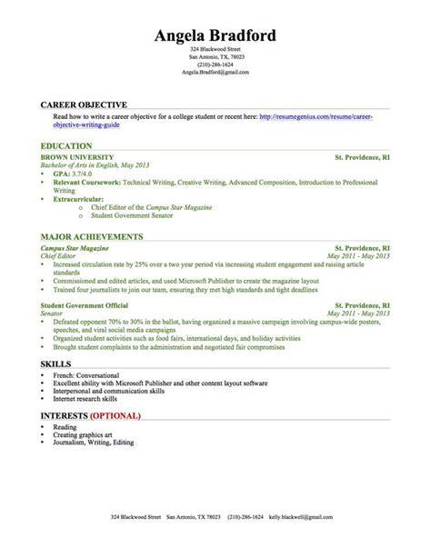 resume  college student   experience task list