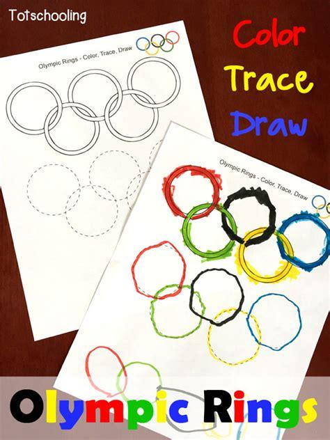 olympic rings coloring tracing drawing sheet