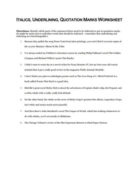 quotation marks and italics worksheets language 8th grade ela common collection lesson planet