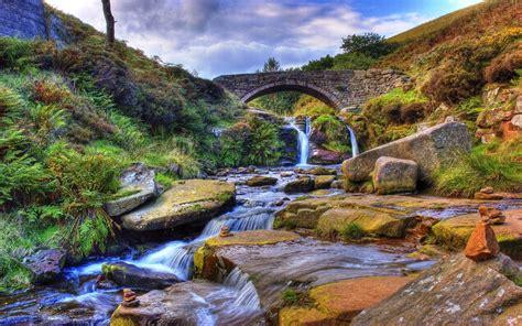 mountain stream stone bridge gully  rock widescreen