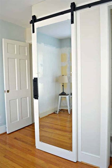 Hanging Closet Doors by How To Make A Sliding Barn Door With Mirror From An