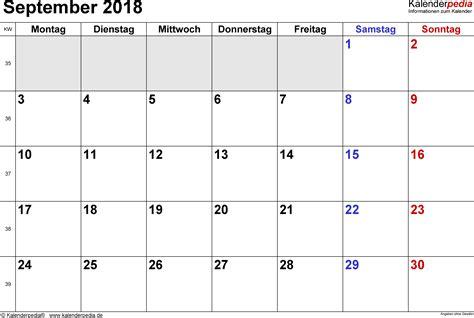 kalender september als vorlagen