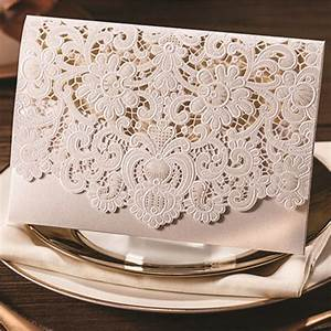 graceful pearl white laser cut pocket envelope wedding With exquisite laser cut white pocket wedding invitations
