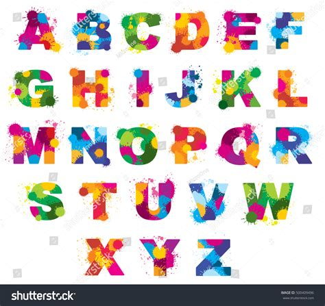of all alphabet letters stock vector image 32655280 letters alphabet painted by color splashes stock vector