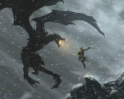 Skyrim Wallpapers Dragonborn Dragon Epic Scrolls Elder