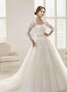 manches mi longue robe de mariee dentelle tulle col en u With robe de marie avec alliance pour mariage