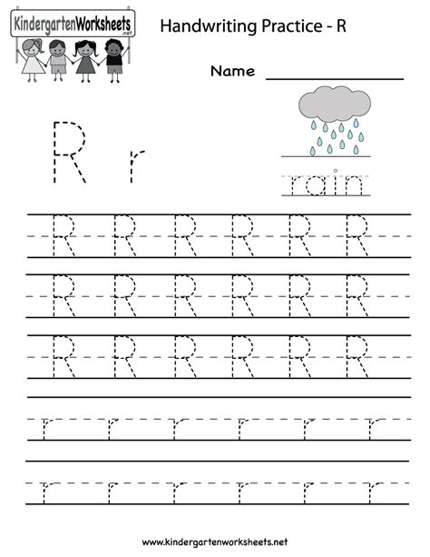 Kindergarten Letter R Writing Practice Worksheet Printable  Future Classroom  Writing Practice